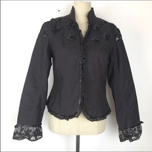 Anthropologie Odille Sequin & Lace Detail Jacket